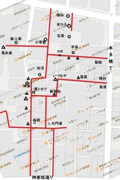 現在と古老の記憶による関東大震災前の形。4丁目。