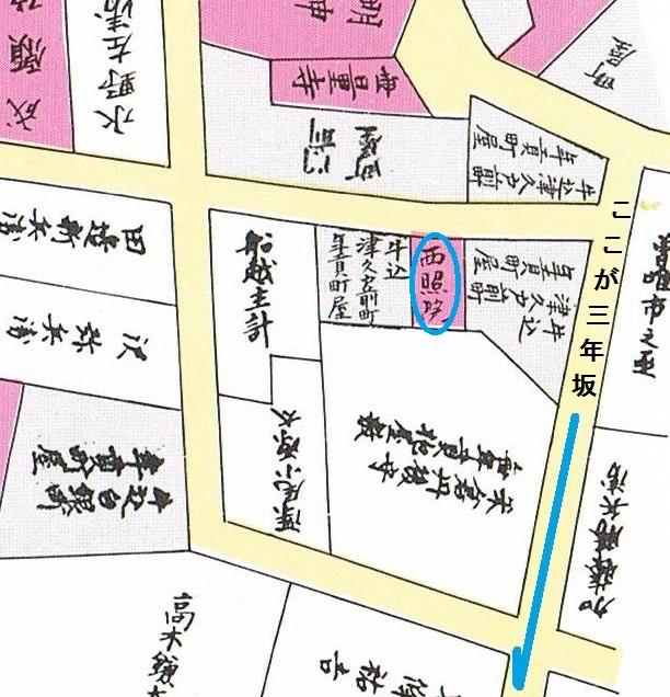 神楽坂津久戸町の地図 江戸時代 三年坂