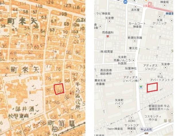 矢来町の地図。色川武大