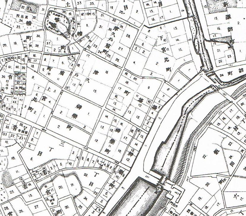 明治20年。東京実測図。地図で見る新宿区の移り変わり。昭和57年。新宿区教育委員会。
