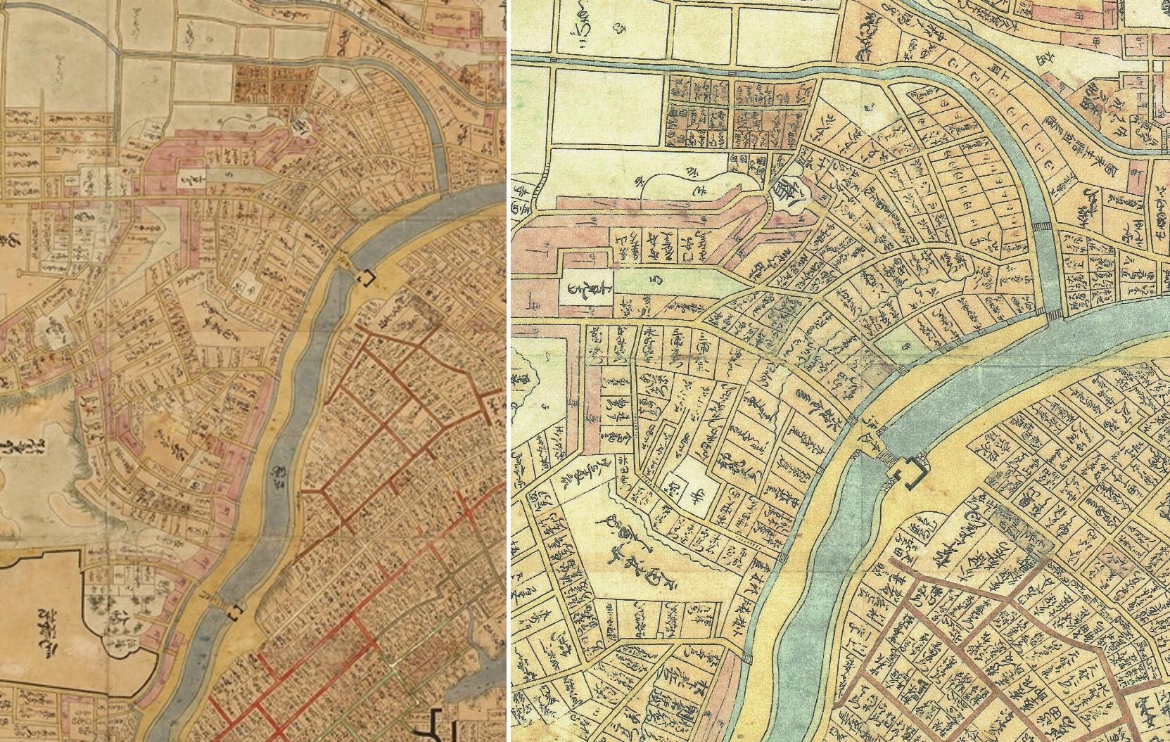 明暦江戸大絵図。http://collegio.jp/?page_id=154 (明暦は1655~8年)。大下水と外濠の距離が遠くなり、あいだには家もありそうだ。