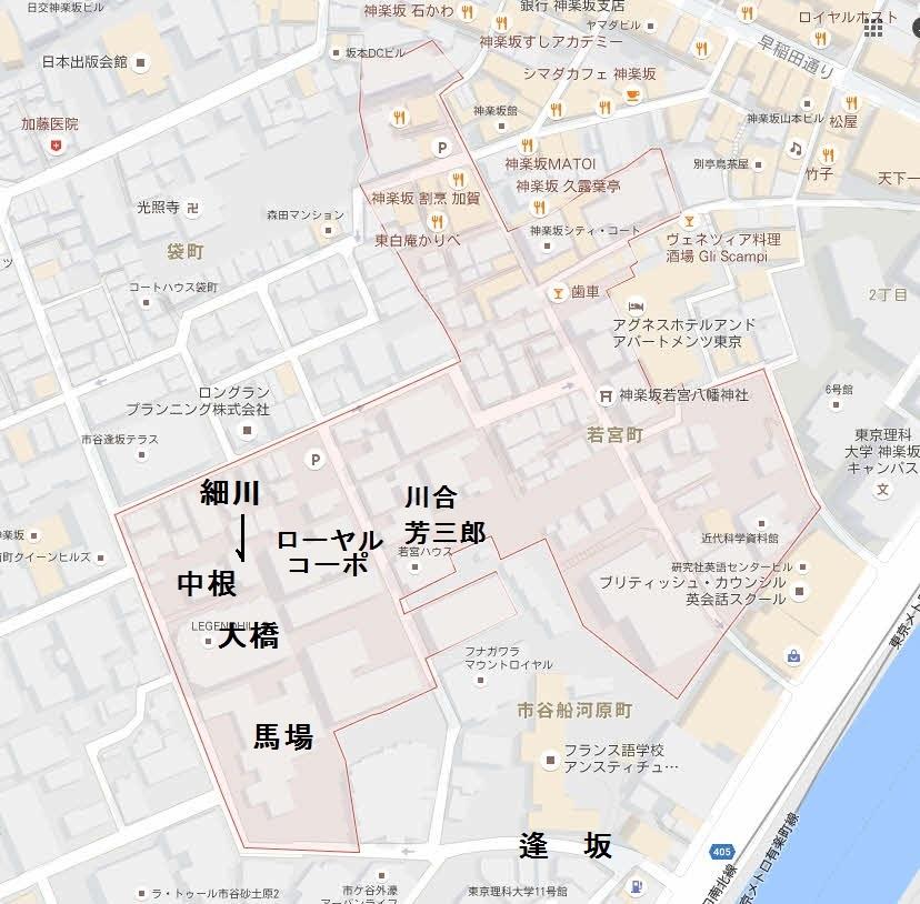 地図は現在の若宮町。川合玉堂は川合芳三郎と同じ。ローヤルコーポは以前は中村吉右衛門の邸宅。中根は中根駒十郎の邸宅。